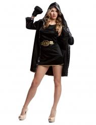 Disfraz boxeadora con guantes negro mujer