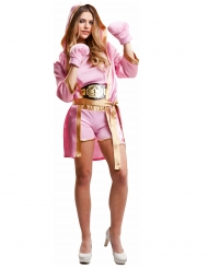 Disfraz boxeadora con guantes rosa mujer