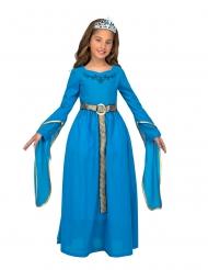 Disfraz con diadema princesa medieval azul mujer