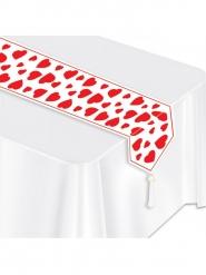 Camino de mesa blanco corazones rojos 28  x 182 cm