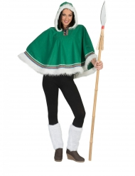 Poncho esquimal verde mujer