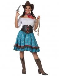 Disfraz cowgirl a cuadros azules y mujer