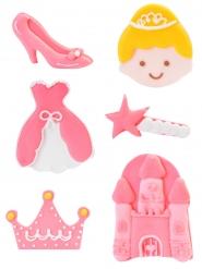 6 Decoraciones de azúcar princesa 4 cm