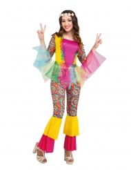Disfraz hippie tul mujer