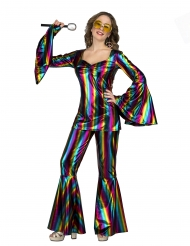 Disfraz disco rainbow mujer