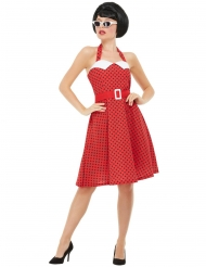 Disfraz rockabilly 50´s rojo mujer