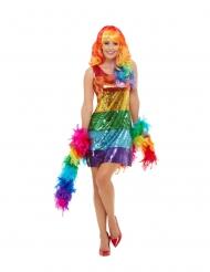 Disfraz lentejuelas arcoíris mujer