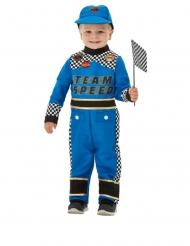 Disfraz piloto de auto de carreras azul bebé