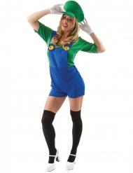 Disfraz fontanero short verde mujer
