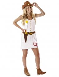 Disfraz vaquera estampados blancos mujer