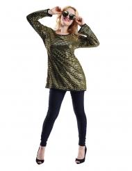 Túnica brillo oro mujer