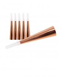6 Trompetas de cartón rose gold 19 cm