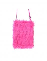 Bolso de peluche rosa fosforito