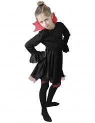 Disfraz de vampiresa negra con cuello rojo niña