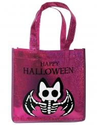 Bolso con purpurina rosa murciélago esqueleto