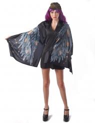 Disfraz alas de ángel poncho negro mujer
