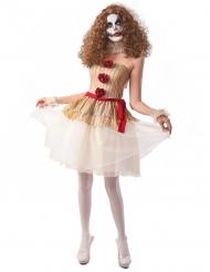 Disfraz payaso terror beige mujer
