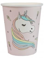 10 Vasos cartón unicornio