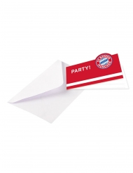 8 Invitaciones con sobres FC Bayern Munich™ 13 x 8 cm
