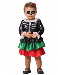 Disfraz esqueleto Día de los muertos bebé niña
