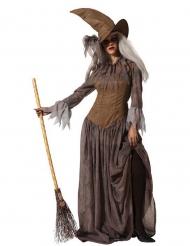 Disfraz con sombrero bruja marrón mujer