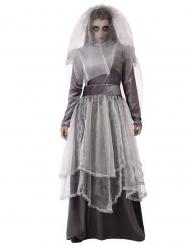Disfraz de novia fúnebre gris mujer