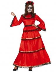 Disfraz de Catrina rojo Día de los muertos mujer