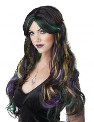 Peluca larga negra con luce de colores mujer