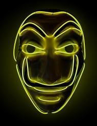 Máscara atracador LED amarillo adulto