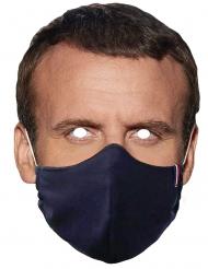 Máscara cartón presidente francés con mascarilla