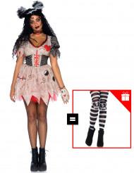 Disfraz de muñeca vudú para mujer con pantys de regalo