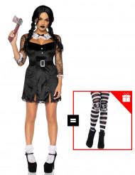 Disfraz chica de tinieblas  para mujer con pantys de regalo