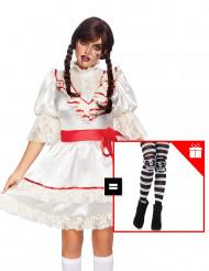 Disfraz lujo muñeca encantada para mujer con pantys de regalo