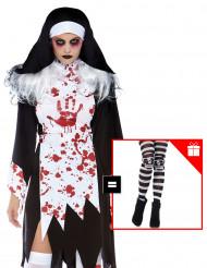 Disfraz monja asesina mujer con pantys de regalo