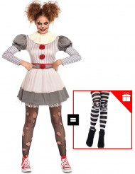 Disfraz creepy payaso mujer con pantys de regalo