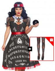 Disfraz lujo adivina mujer con pantys de regalo