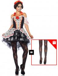 Disfraz Catrina mujer Día de los muertos con pantys de regalo