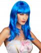 Perruque longue bleue à frange femme