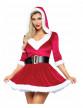 Déguisement robe courte rouge femme Noël-1