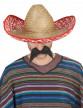 Sombrero Mexicain rouge et paille Adulte-1