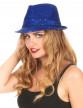 Chapeau borsalino à sequins bleu foncé adulte-1