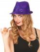 Chapeau borsalino à sequins violet adulte-1