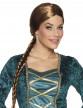 Perruque châtain médiévale avec tresse femme