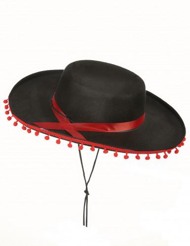 Sombrero mejicano negro y rojo