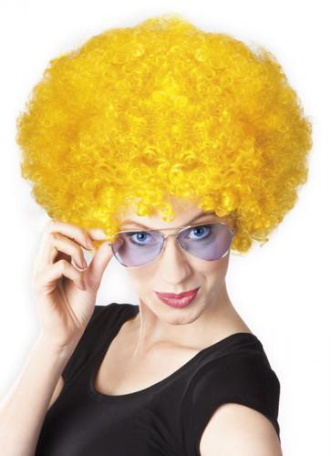Peluca afro disco amarilla para adulto-1
