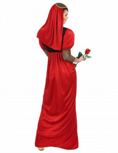 Disfraz de princesa medieval rojo para mujer-2