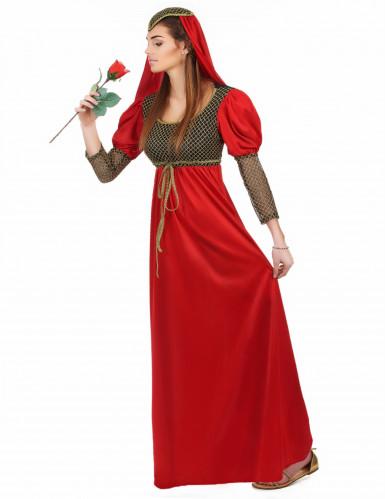Disfraz de princesa medieval rojo para mujer-1