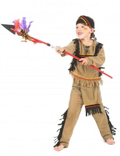 Disfraz de indio para niño flecos negros-1