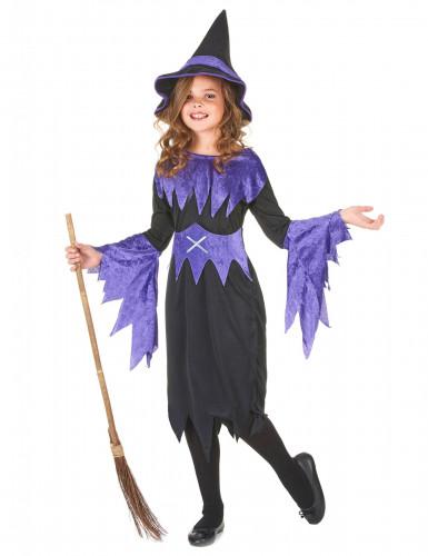 Disfraz violeta de bruja para niña Halloween