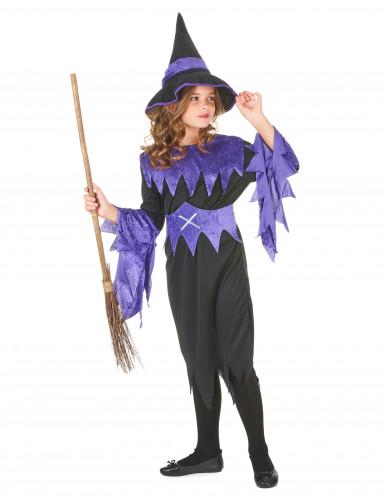 Disfraz violeta de bruja para niña Halloween-1